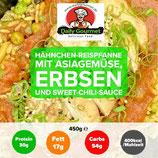 Hähnchen-Reispfanne, Asiagemüse, Erbsen