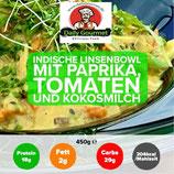 """VEGAN"" Indische Linsenbowl, Paprika,Tomaten,Kokosmilch"