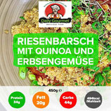 Riesenbarschfilet, Quino, Erbsengemüse