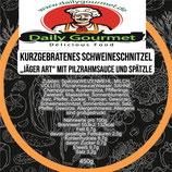 """Kurzgebratenes Schweineschnitzel """"Jäger Art"""""""