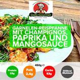Garnelen Reispfanne, Champignons, Paprika, Mangosauce
