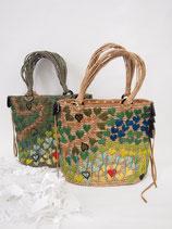 ラフィアハート刺繍カゴバッグ全2色(072-265)