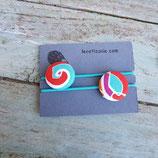 Élastique à cheveux Spirale rouge, turquoise et blanc