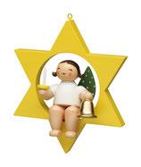 Engel (KLEIN) im Stern, mit Glocke und Kerze