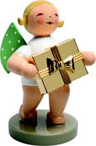Goldedition N° 7, NICHT limitiert, grauer Sockel, Gratulant, Engel mit Geschenk, vergoldet