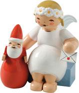 Margeritenengel, sitzend, mit Weihnachtsmann