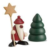 Miniaturset 5 / Weihnachtsmann mit Stern und Baum