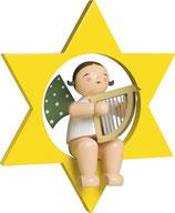 Engelmusikant, groß, im Stern, mit Harfe
