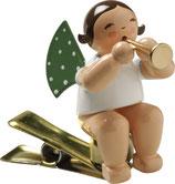 Engelmusikant auf Klemme, mit Flöte