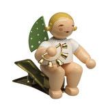Engelmusikant auf Klemme, mit Glockenkranz
