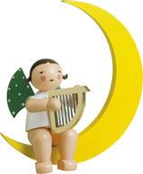 Engelmusikant, groß, im Mond, mit Harfe