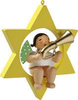 Engelmusikant, im Stern, mit Basstrompete