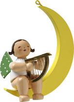 Engelmusikant, im Mond, mit Harfe
