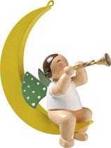 Engelmusikant, im Mond, mit Trompete