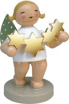 Goldedition N° 5, NICHT limitiert, grauer Sockel, Sternenfänger, Engel mit Sternen, vergoldet