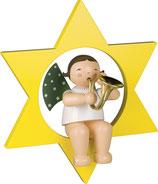 Engelmusikant, groß, im Stern, mit Waldhorn