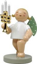 Goldedition N° 4, NICHT limitiert, grauer Sockel, Lichterbote, Engel mit Leuchter, vergoldet