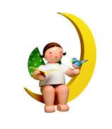 Engelmusikant, groß, im Mond, mit Liederbuch und Vogel