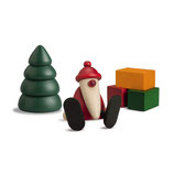Miniaturset 1 / Weihnachtsmann auf Kante sitzend mit Baum und Geschenken