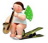 Engelmusikant auf Klemme, mit Saxophon