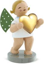 Goldedition N° 3, NICHT limitiert, grauer Sockel, Liebesbote, Engel mit Herz, vergoldet