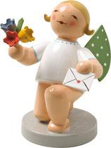 Engel mit Brief und Blumen, kniend