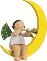 Engelmusikant, groß, im Mond, mit Trompete