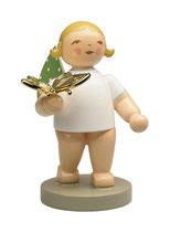 Goldedition N° 13, NICHT limitiert, grauer Sockel, Träumer, Engel mit vergoldetem Schmetterling