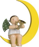 Engelmusikant, groß, im Mond, mit Waldhorn