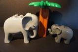 Duplo 2 Elefanten mit Palme als Set