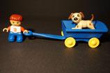Duplo Junge mit Handwagen und Hund als Set