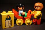 Duplo Mutter mit Kind im Kinderwagen + Stein als Set