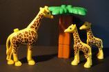Duplo Giraffenfamilie (3 Tiere) mit Palme als Set
