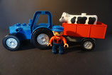 Duplo Trecker mit Anhänger, Bauer und Kuh als Set