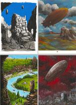 Pack 4 Cartes Postales avec Pochette