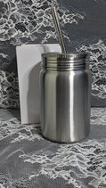 17 OZ Stainless Mason Jar with screw on lid and metal straw