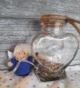Geschenkengel im Herzglas Blau