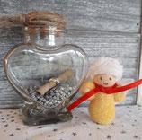 Geschenkengel im Glas gelb