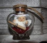 Geschenkengel im Herzglas