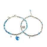 s-0019 Damen-Armband-SET, 2-teilig in Hellblau, Bergkristall Aqua Aura, Hämatit, beides facettiert, mit Verschluss