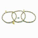 """s-0022 Damen-Armband-SET, 3-teilig, glatte Hämatitperlen galvanisiert in Gold, Roségold und grau mit einem """"Diamantform-Anhänger"""" in Silber 925, 24 Karat vergoldet"""