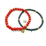 s-0030 Damen-Armband-SET, 2-teilig in Rot und Grün, Jade rot-gold, Hämatit grün, Herz-Anhänger Silber 925 24 Karat vergoldet