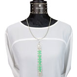 anh-0014 Handgefertigter Anhänger aus Glaskristall-Rondellen in Grün und Weiß; Anhänger Peace-Zeichen, Zwischenperlen  aus Echtsilber (Silber925)