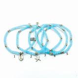 s-0035 Damen-Armband-SET, 5-teilig, Glaskristallrondelle in Hellblau, Zwischenperlen, Seestern und Muschelanhänger in Echtsilber (Sterlingsilber)