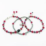 s-0027 Damen-Armband-SET, 3-teilig Achate in beerenfarben, Hämatit, Kristalle, Goldfluss, Zwischenperlen DQ-Metall (Designerqualität)