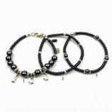 s-0038 Damen-Armband-SET, 3-teilig, Hämatitrondelle, Hämatitperlen, Sterne aus Sterlingsilber