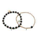 s-0028 Damen-Armband-SET, 2-teilig, Onyx matt, mittig glänzender Streifen, Hämatitperlen rosé