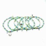 s-0012 Damen-Armband-SET, 6-teilig, Glaskristallrondelle in Grün-Weiß-Flieder, Zwischenperlen und Muschelanhänge in Echtsilber (Sterlingsilber)