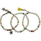 s-0043 Damen-Armband-SET, 3-teilig, Jade weiß, gelb, Kristalle weiß, orange, grün,  DQ-Metall Seesterne und Verschluss, Quaste 24 Karat vergoldet