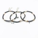 s-0032 Damen-Armband-SET, 3-teilig, graue Hämatitrondelle, weiße Süßwasserzuchtperlen, rosé Swarovskibicons, Kettchen und Anhänger in Silber 925